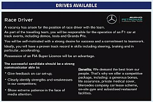 Formula 1 Breaking news Mercedes places classified advert for F1 race driver in Autosport