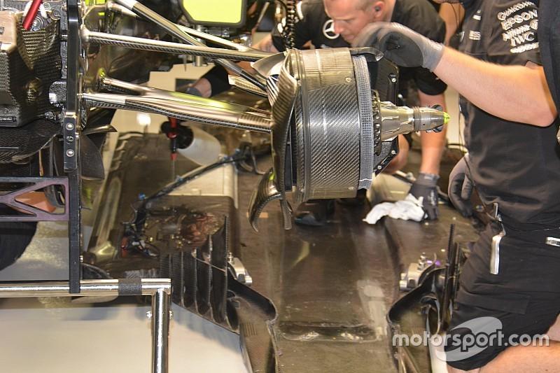 Bite-size tech: Mercedes dismantles Hamilton's W07 to repair hydraulic leak