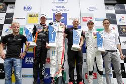 Podium: Felix Rosenqvist, 2015 FIA F3 European Championship Winner;  second place Anthoine Hubert, Van Amersfoort Racing, Dallara F312 - Mercedes-Benz; race winner Joel Eriksson, Motopark, Dallara F312 - Volkswagen; George Russell, HitechGP, Dallara F312 - Mercedes-Benz; Harry Tincknell, FIA WEC Driver