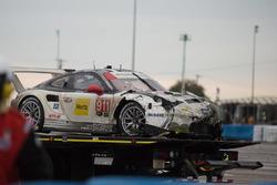 The crashed car of #911 Porsche Team North America Porsche 911 RSR: Nick Tandy, Patrick Pilet, Kevin Estre