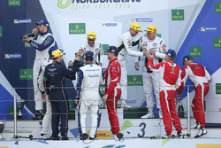 Podium LM GTE Am: first place Paul Dalla Lana, Pedro Lamy, Mathias Lauda, Aston Martin Racing, second place Christian Ried, Wolf Henzler, Joël Camathias, KCMG, third place Francois Perrodo, Emmanuel Collard, Rui Aguas, AF Corse