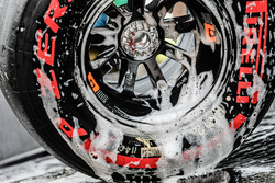 A Sahara Force India F1 Team tyre being washed