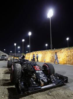 The McLaren MP4-31 of race retiree Jenson Button, McLaren