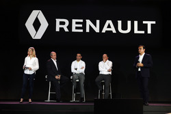 (L to R): Jerome Stoll, Renault Sport F1 President with Cyril Abiteboul, Renault Sport F1 Managing Director; Frederic Vasseur, Renault F1 Team Racing Director; and Carlos Ghosn, Chairman of Renault