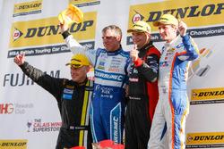 Podium: Race winner Mat Jackson, Motorbase Performance; Mark Howard, BKR; Jason Plato, Subaru Team BMR; Sam Tordoff, Team JCT600 with GardX