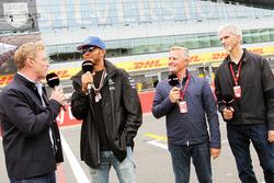 (L to R): Simon Lazenby, Sky Sports F1 TV Presenter; Lewis Hamilton, Mercedes AMG F1; Johnny Herbert, Sky Sports F1 Presenter; Damon Hill, Sky Sports Presenter