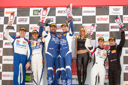 Sprint X GT podium: #46 Mills Racing BMW Z4: Michael Mills, Kuno Wittmer, second place #14 GMG Racing Porsche 911 GT3R: Brent Holden, Colin Braun, third place #69 Audi R8 LMS Ultra: Dion von Moltke, David Ostella