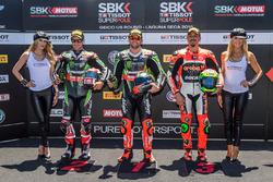 Superpole winner Tom Sykes, Kawasaki Racing Team with 2nd place Davide Giugliano, Aruba.it Racing - Ducati, 3rd place Jonathan Rea, Kawasaki Racing Team