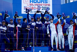LMP3 podium: first place, Alex Brundle, Mike Guasch, Christian England, United Autosports, second place, Matt Bell, Mark Patterson, Wayne Boyd, United Autosports, third place, Eric Trouillet, Paul Petit, Enzo Guibbert, Graff Racing