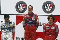 Формула 1 Фотографії - Подіум: переможець - Найджел Менселл, Williams Honda, друге місце - Нельсон Піке, Williams Honda, третє місце - Ален Прост, McLaren TAG Porsche