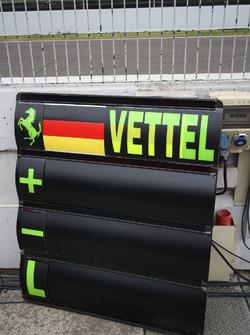 Ferrari Sebastian Vettel's pit board