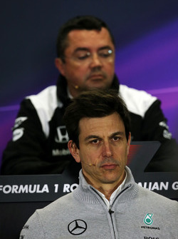 Toto Wolff, Mercedes AMG F1 Shareholder and Executive Director in the Press Conference