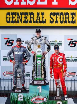 Podium: race winner Josef Newgarden, Ed Carpenter Racing Chevrolet, second place Will Power, Team Penske Chevrolet, third place Scott Dixon, Chip Ganassi Racing Chevrolet