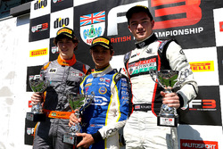 Podium: race winner Lando Norris, Carlin; second place Matheus Leist, Double R Racing; third place Will Palmer, HHC Motorsport