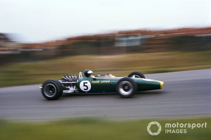 On his way to an improbable victory at Zandvoort in '67, with the brand new Lotus 49 powered by the DFV on its debut.