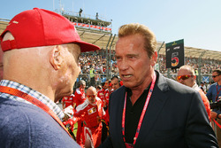 Niki Lauda, Mercedes Non-Executive Chairman with Arnold Schwarzenegger