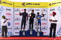 Indian Open Wheel Photos - Podium: race winner Krishnaraaj Mahadik, second place Anindith Reddy, third place Akash Gowda