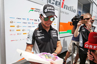 Formula 1 Photos - Sergio Perez, Sahara Force India F1 with the media