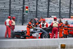 Alex Tagliani, A.J. Foyt Enterprises Honda crash