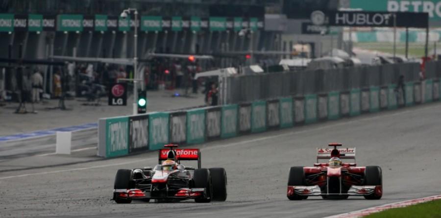 Hamilton, Alonso penalised for Malaysia duel
