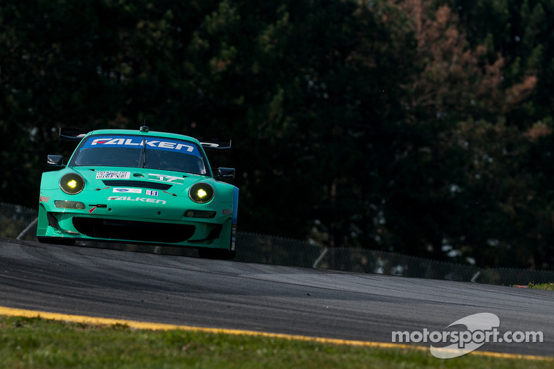 Team Falken Tire sets up their Porsche for Saturday's race at VIR