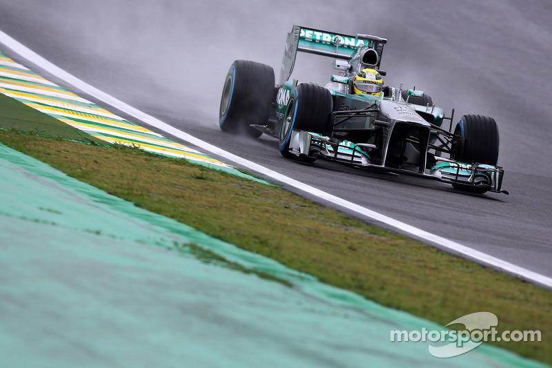 Rosberg retains top spot in rainy Brazil's second practice