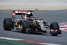 Grosjean resumed test duties in the Lotus E23 Hybrid at Barcelona