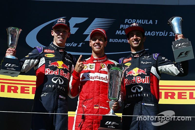 Wie is sneller: Vettel of Kvyat? Ricciardo weet het niet