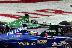 The heat is on: Eddie Irvine and Nick Heidfeld