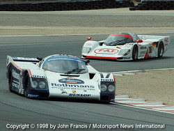 A pair of Porsch 962s