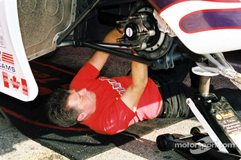 Fred Hahn doing some wrenching on his car
