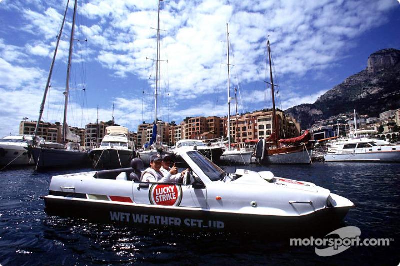Olivier Panis having fun with the amphibious car 1800cc diesel engine Dutton Commander
