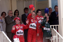 The podium: Rubens Barrichello, Michael Schumacher and Eddie Irvine