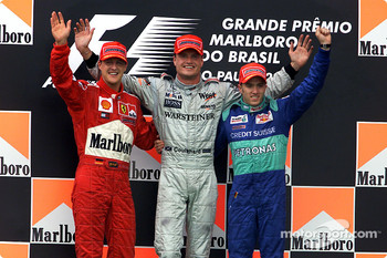 The podium: Michael Schumacher, David Coulthard and Nick Heidfeld