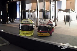 The helmets of Ralf Schumacher and Juan Pablo Montoya