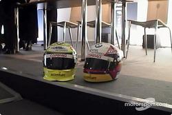 The helmets of Ralf Schumacher and Juan Pablo Montoya