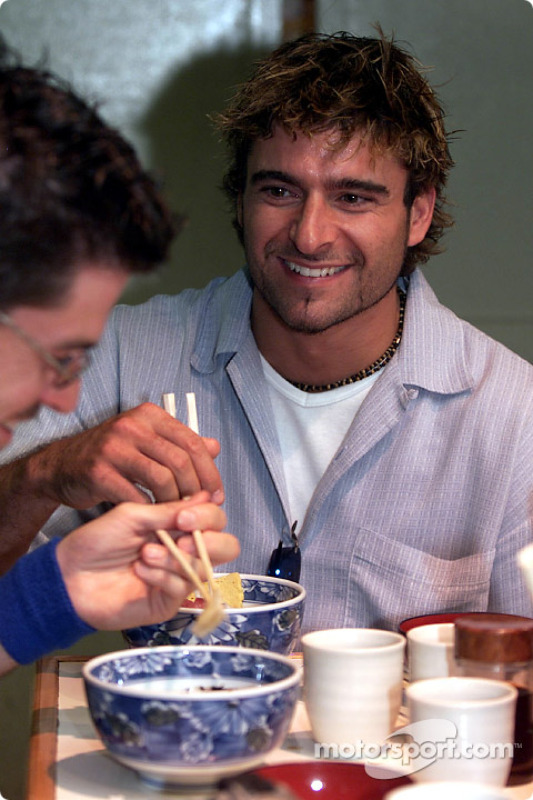 Tag-San and Pat-San: Alex Tagliani gets an introduction to authentic Japanese cusine from teammate Patrick Carpentier in Tokyo.