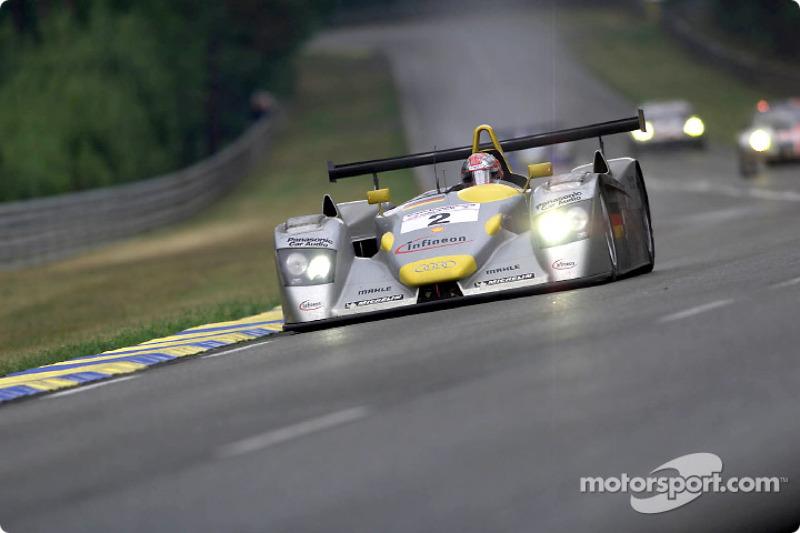 Audi driver Rinaldo Capello (#2) in the Infineon Audi R8 in the wet