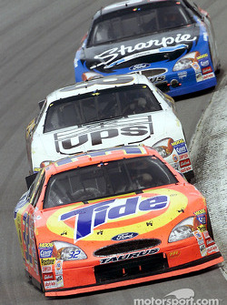 Ricky Creaven leads Dale Jarrett and Kurt Busch