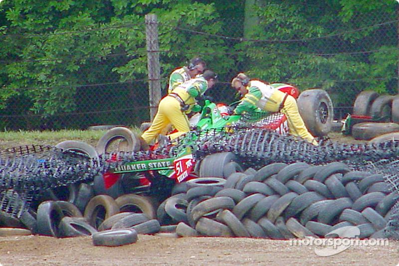 Adrian Fernandez in the tire barrier