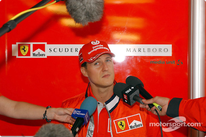 Michael Schumacher meeting the press on Thursday