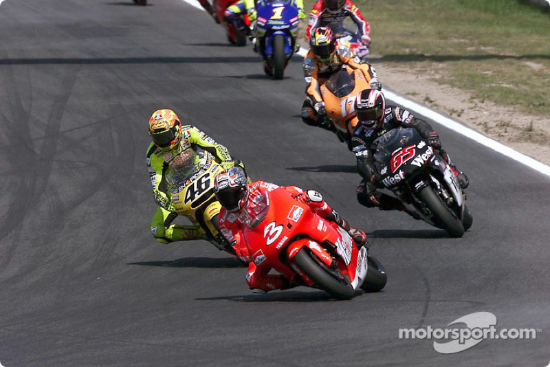 Early race action: Max Biaggi leading