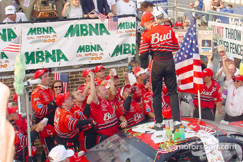 Dale Earnhardt Jr. celebrating with his team