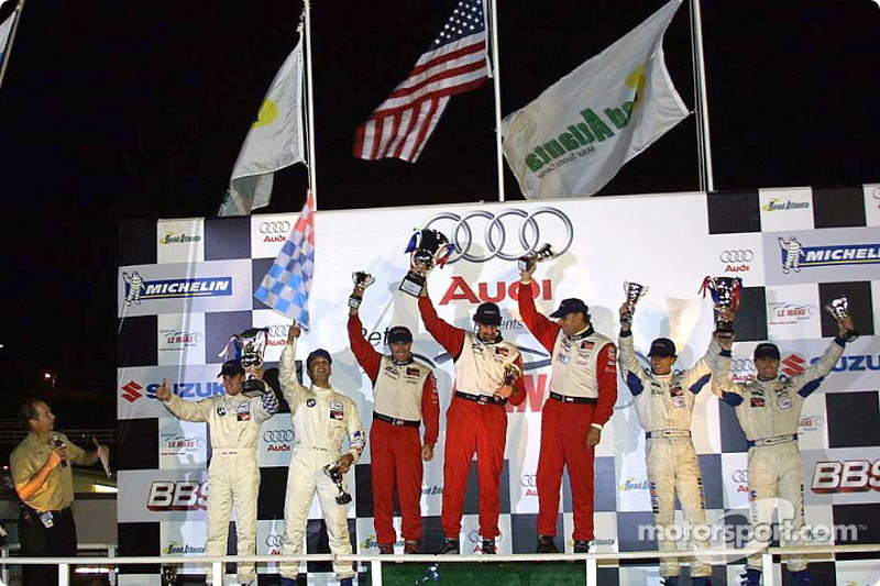 GT podium: Bill Auberlen, Boris Said III and Hans Stuck