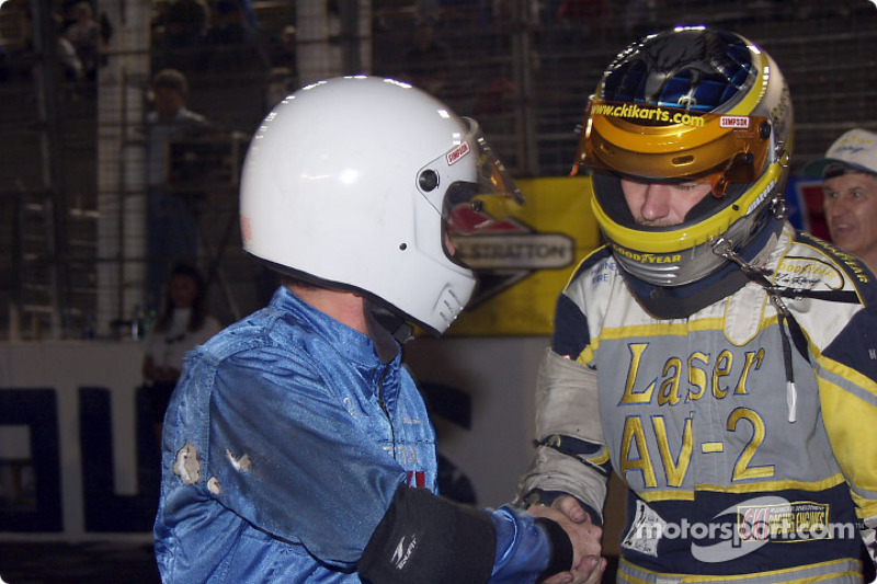 Pole winner Michael Dowell shakes outside pole winner Kerry Parnellís hand before the Briggs & Stratton 300