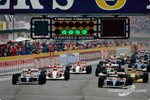 The start: Damon Hill, Alain Prost, Ayrton Senna and Michael Schumacher
