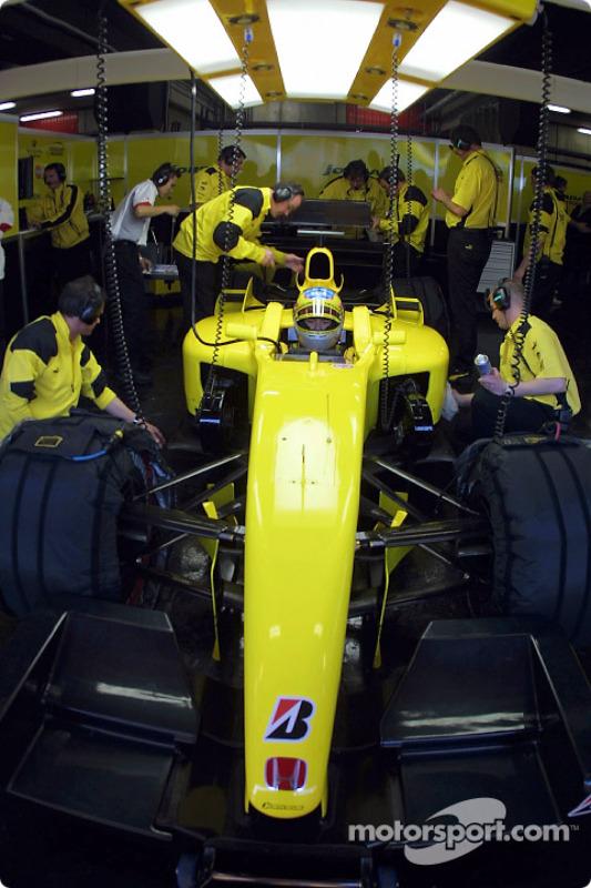 Takuma Sato in the garage