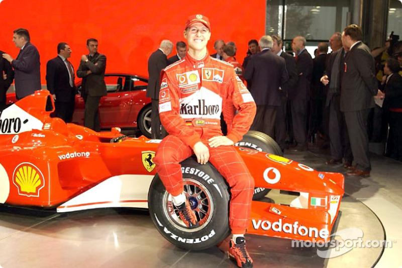 Michael Schumacher with the new Ferrari F2002