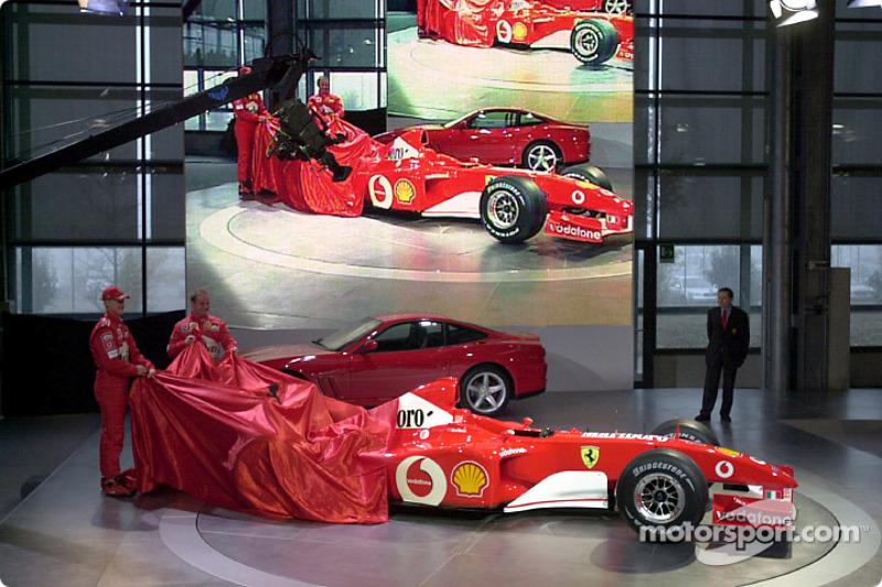 Michael Schumacher and Rubens Barrichello unveiling the new Ferrari F2002