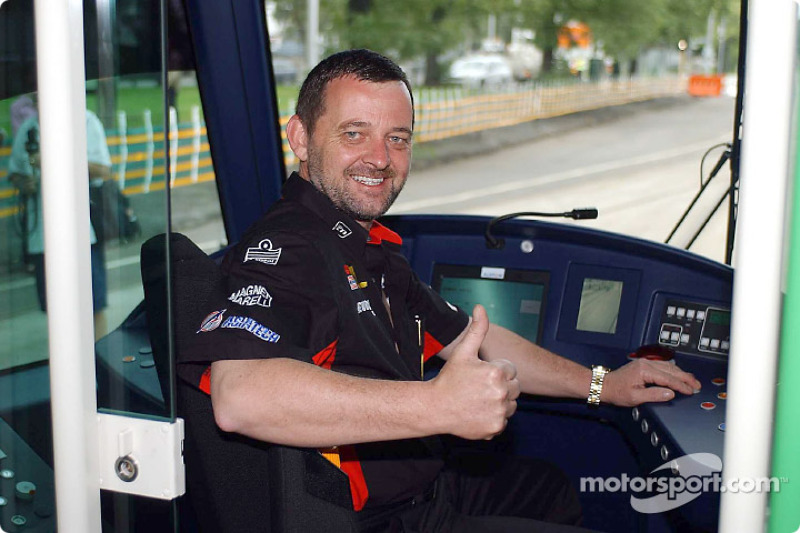 Paul Stoddart driving a tram in his home town, Melbourne